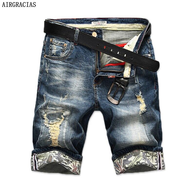 AIRGRACIAS Nuovo di Modo Mens Strappato Brevi Jeans di Marca Abbigliamento Bermuda Estate 98% Cotone Shorts Traspirante Denim Shorts Maschio