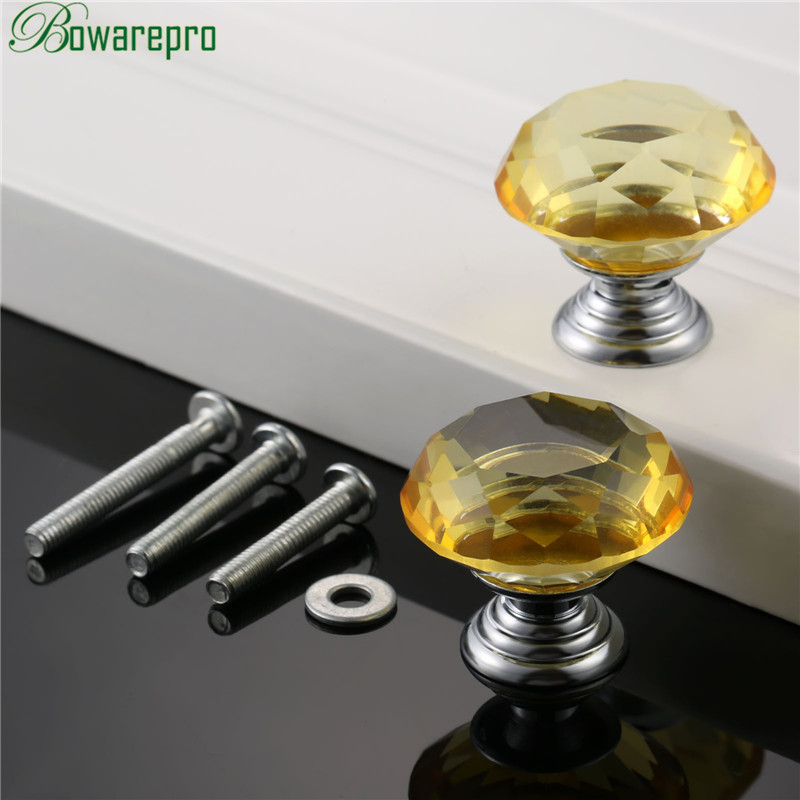 bowarepro Diamond Crystal Glass furniture kitchen cabinet accessories hardware furniture handle accessory 30mm 2pc+6Pcs Screws