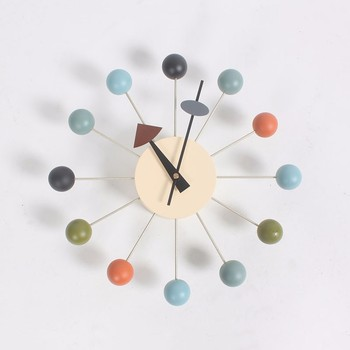 Free shipping Popular designer beautiful modern luxury home decorative diy wooden balls wall clocks