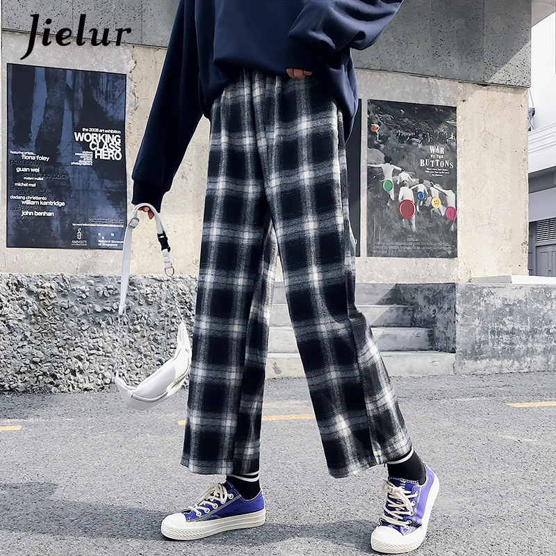 Jielur Ulzzang Korean   Pants   Women 2019 Harajuku Hip Hop Hipster Loose   Wide     Leg     Pants   Black Plaid Pantalon Femme Streetwear M-XL
