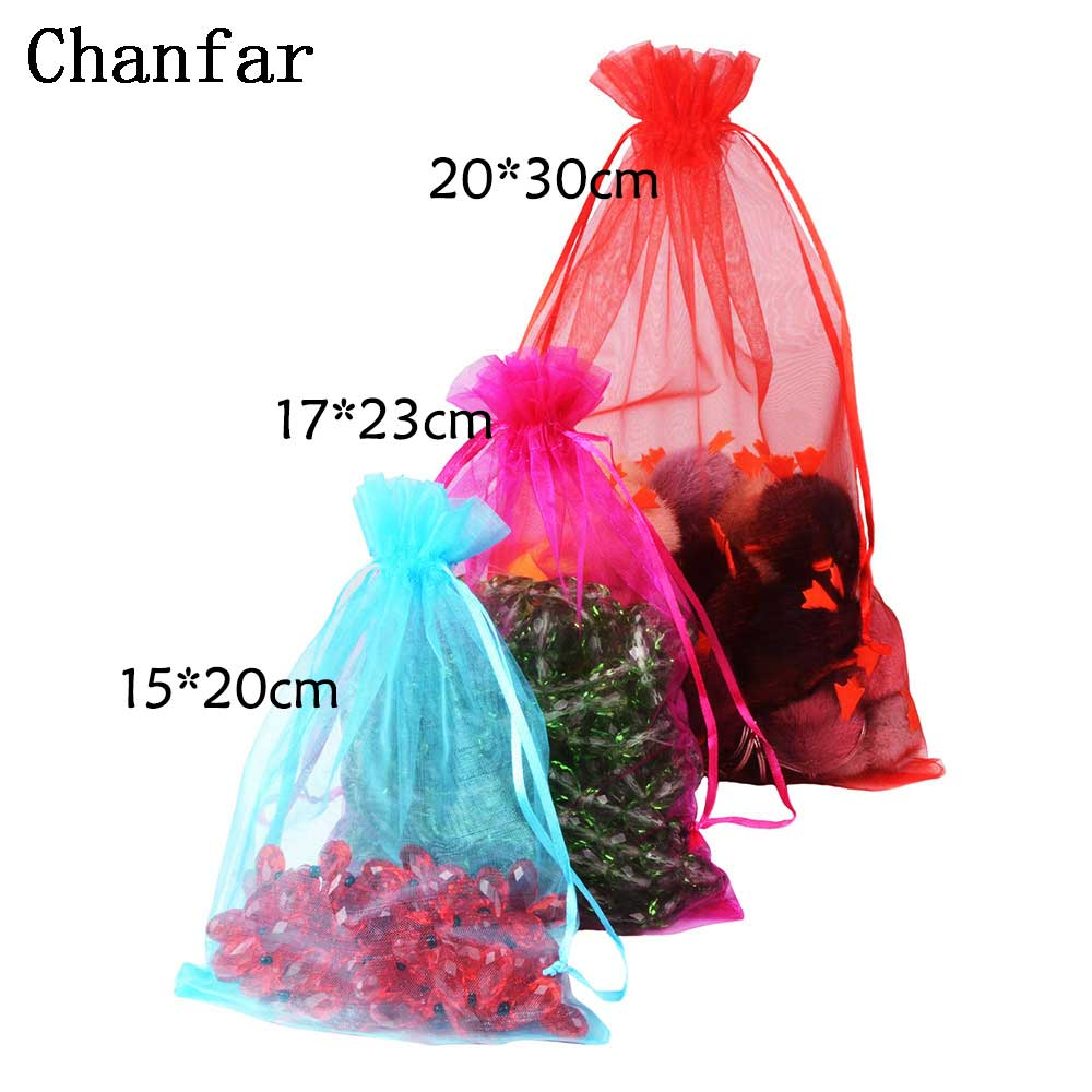 100pcs/<font><b>bag</b></font> 15x20 17x23 20x30cm Colorful Big Size Candy Organza <font><b>Bags</b></font> drawstring Wedding Gift <font><b>Bag</b></font> Christmas Pouches image