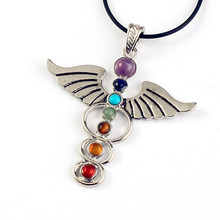 Wholesale 10pcs Fashion Charm Silver Angel wings shaped chakra healing pendant Gift