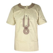 African Clothes Men`s Dashiki Bazin Embroidery Tops Dress Shirt for Festival Wearing