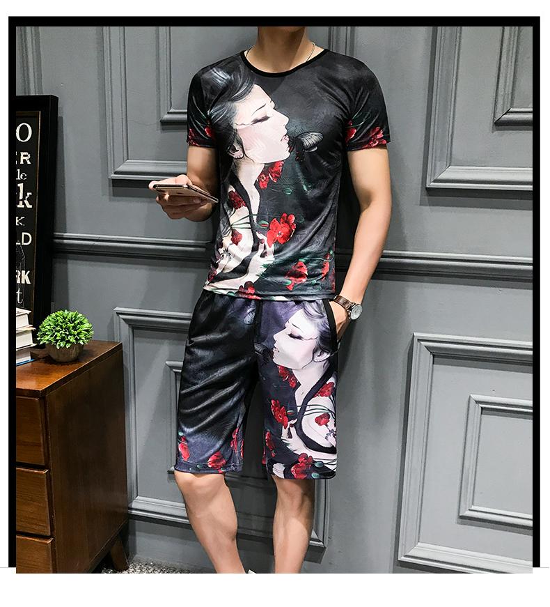 Loldeal Summer 3D Beauty Women's Print Set Ice Silk Short Sleeve T Shirt + Shorts Set Men's Print Butterfly Men's Set-in Men's Sets from Men's Clothing on Aliexpress.com   Alibaba Group 6