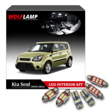 Wolflamp 8Pcs Super Bright Ice Blue White LED Interior Car Lights For 2010-2012 Kia Soul Map Light Dome Lamp License Plate Bulb(China)