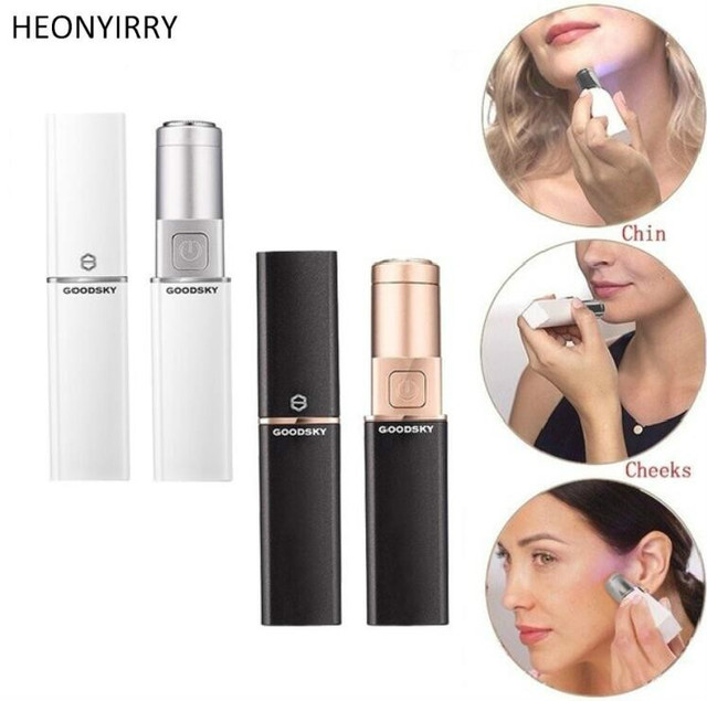 252255b23f US $2.83  Epilator Electric Face Hair Remover Mini Body Shaver Facial Hair  Removal Face Depilator Painless Body Face Neck Hair Remover-in Nose & Ear  ...