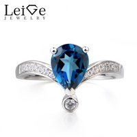 Leige Jewelry London Blue Topaz Ring Party Ring November Birthstone Pear Cut Blue Gemstone 925 Sterling Silver Ring for Women