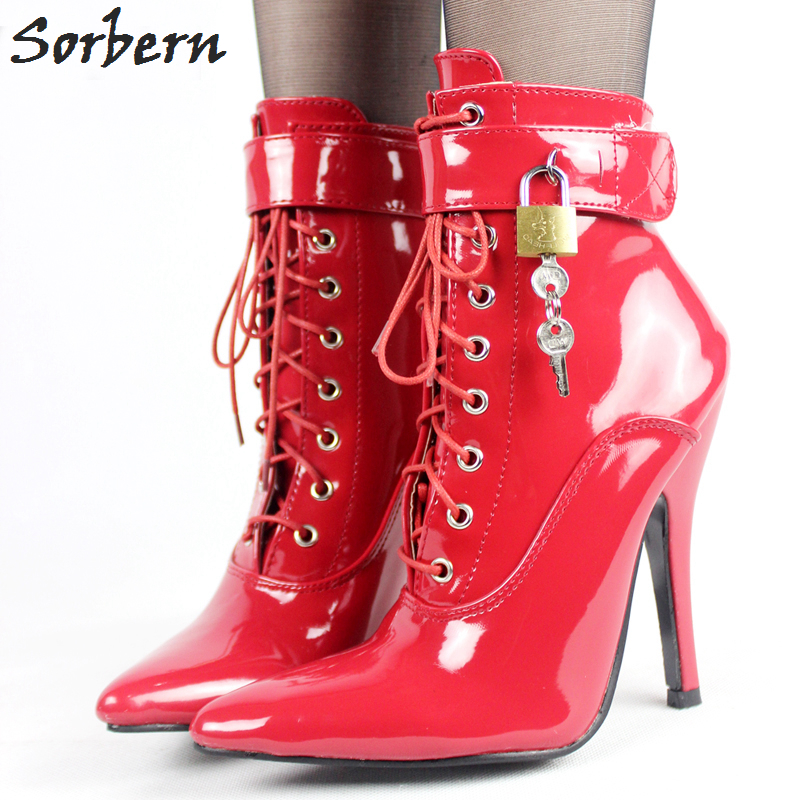 Sorbern Mature Ankle Boots For Women 12cm High heel Sexy Fetish Shoes Cross-tied Pointed Toe Stiletto Boots With Padlocks цена