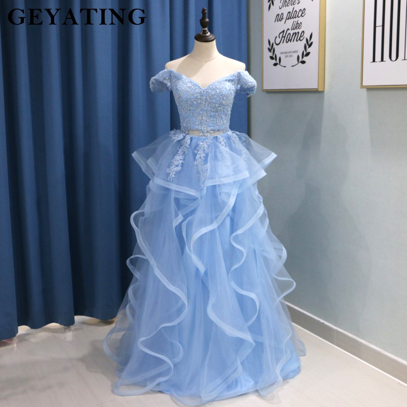 Light Sky Blue 2 Two Pieces Prom Dresses with Sleeves Off Shoulder Crop Top  Ruffle Lace Appliques Beaded Long Graduation Dress b67041c58d92