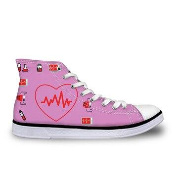 THIKIN/Женская прогулочная обувь; обувь на плоской подошве с принтом для медсестер; Классическая обувь с высоким берцем для девушек; женская по...