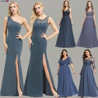 Plus Size Evening Dresses Long Ever Pretty New Dusty Blue Sleeveless V neck Cheap Summer Formal Gowns 2019 Robe Soiree Dubai