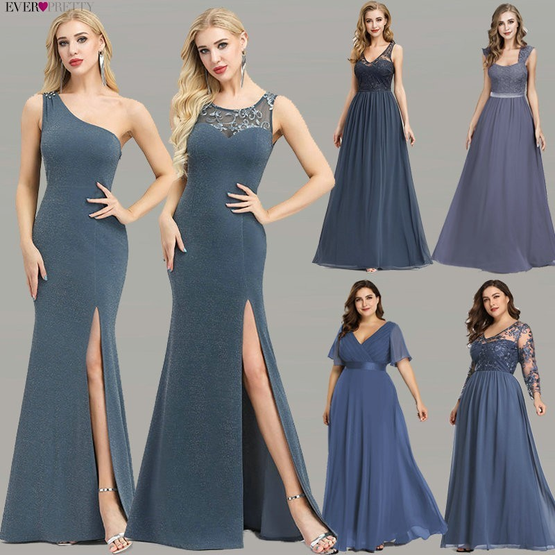 Plus Size   Evening     Dresses   Long Ever Pretty New Dusty Blue Sleeveless V-neck Cheap Summer Formal Gowns 2019 Robe Soiree Dubai