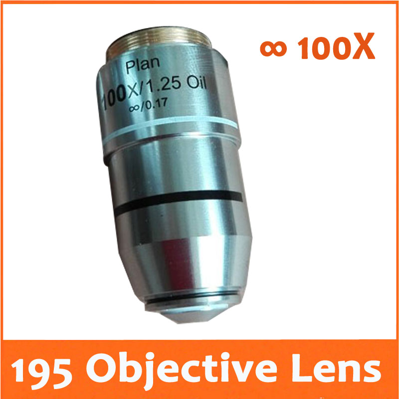 100X L=195 Infinity Plan Achromatic Objective Lens for Educational Lab Medical Bio-Microscope Biological Microscope 20.2mm