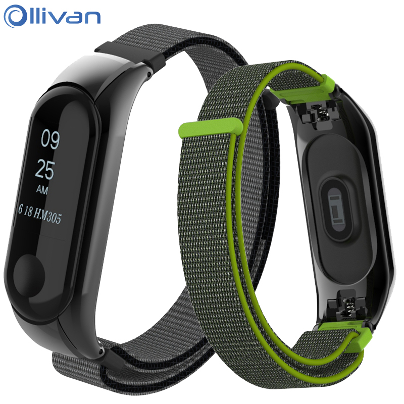 Ollivan Canvas Nylon Wrist Strap for Xiaomi mi band 3 Bracelet Replacement Watchband Smart Band for Xiaomi Miband 3 Accessories nylon wrist strap arm band mount strap accessories for xiaomi yi sports camera