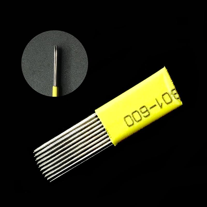 Linha dupla 9 pinos agulhas Maquiagem Definitiva microblade Microblading compõem tatuagens olho linha 3d plana