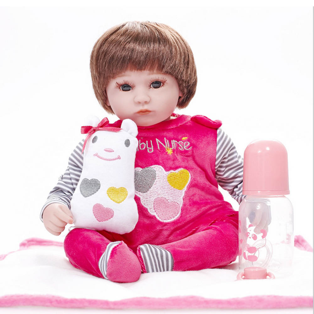 17 inches Soft Silicone Reborn Baby Doll Lifelike Girl Newborn Dolls with Cloth Body Toy Kids Birthday Xmas Gift 22 inches soft silicone reborn baby dolls cloth body real looking newborn alive girl babies boneca toy kids birthday xmas gift
