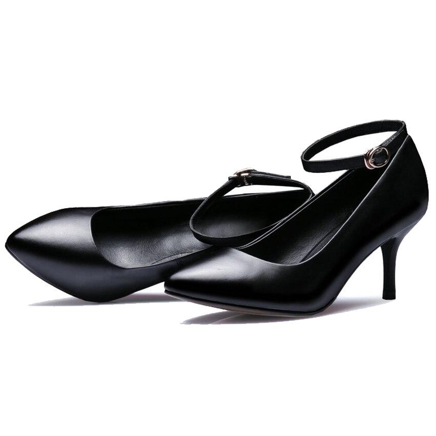 Talon De En Buckle Bout Véritable 2018 Femmes Mariage Buckle Mince Chaussures Boucle black Dames 39 Black Vinlle Cheville 34 Haut Avec Bureau Taille No Pointu Pompes Cuir TXwqcgWP