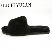 Fashion home Real wool one Fur Slippers Summer Flip Flops Casual Vogue Fox Fur Sandals cow Bottom Non slip Plush Shoes