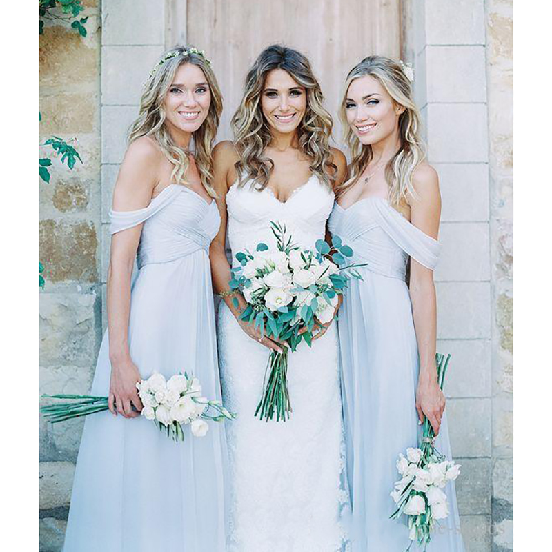 2019 Chiffon   Bridesmaid     Dresses   5 Mixed Styles Floor Length Elegant Garden   Bridesmaid   Gowns for Weddings Prom Party   Dress