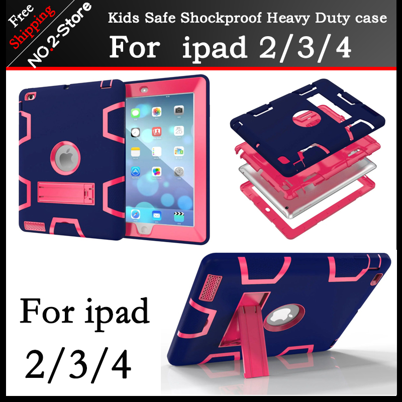 Hybrid Armor Case For IPad 2 3 4 Kids Safe Shockproof Heavy Duty Silicone PC Stand