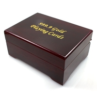 Hot Sale New Stylish Practical Artistic Gold Foil Plated Poker Playing Card Wooden Box Case For