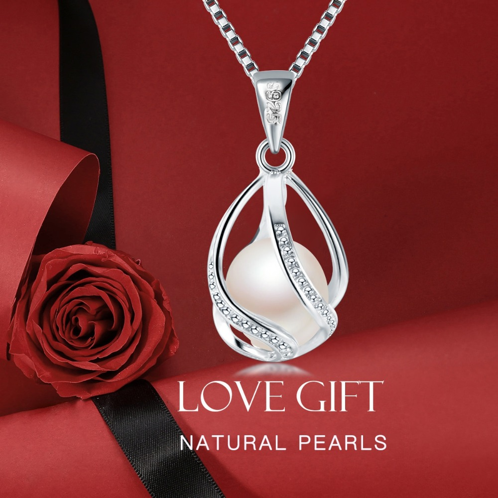 Cauuev genuine 100% Natural freshwater  Pearl Jewelry  925 Sterling Silver Pendant Necklace  1