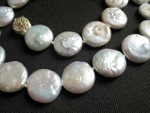 Natural white freshwater 12mm coin bead necklace(China)