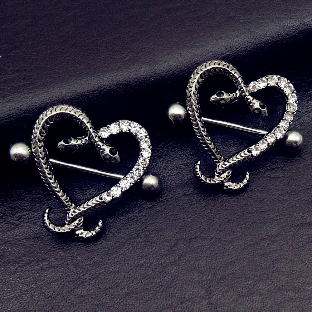 1 Pair Surgical Steel Love Heart Nipple Shield Bar Ring Body Piercing Jewelry,Q