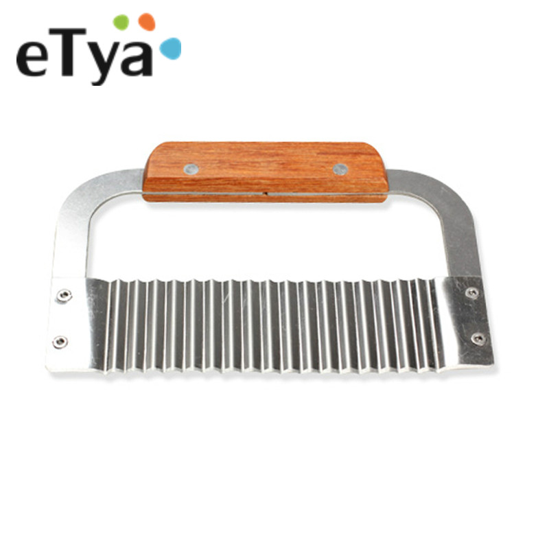 ETYA 1PC 2017 Handle Stainless Steel Shredders Crinkle Wax Vegetable Soap Cutter Wavy Slicer