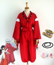 Anime InuYasha Cosplay Costume Kimono Outfit+Wig+Clogs+Ears+Necklace Halloween Party Costumes for Women/Men