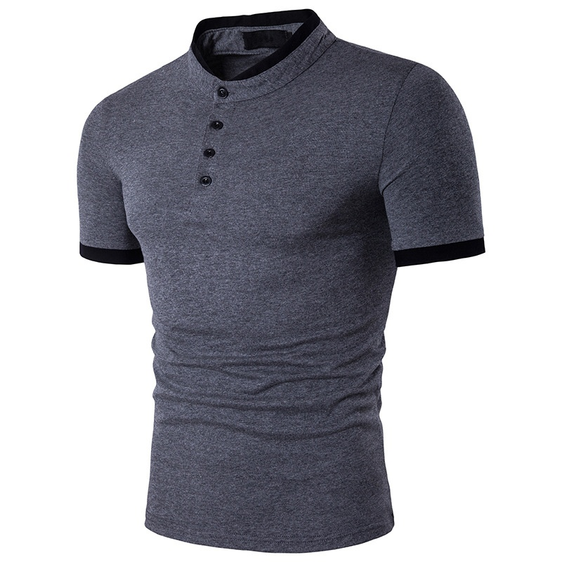 Zogaa 2019 Summer Fashion   Polo   Shirt Men Business Casual Clothing Short Sleeve Cotton Tops Stand Collar Male Solid   Polo   Shirt