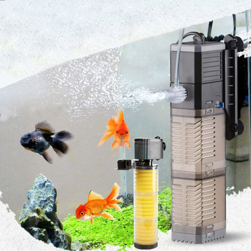 3 In 1 Aquarium Filter Fish Tank Filter For Aquarium Air Pump Air Oxygen Increase Aquarium Internal Filter Aquarium Pump