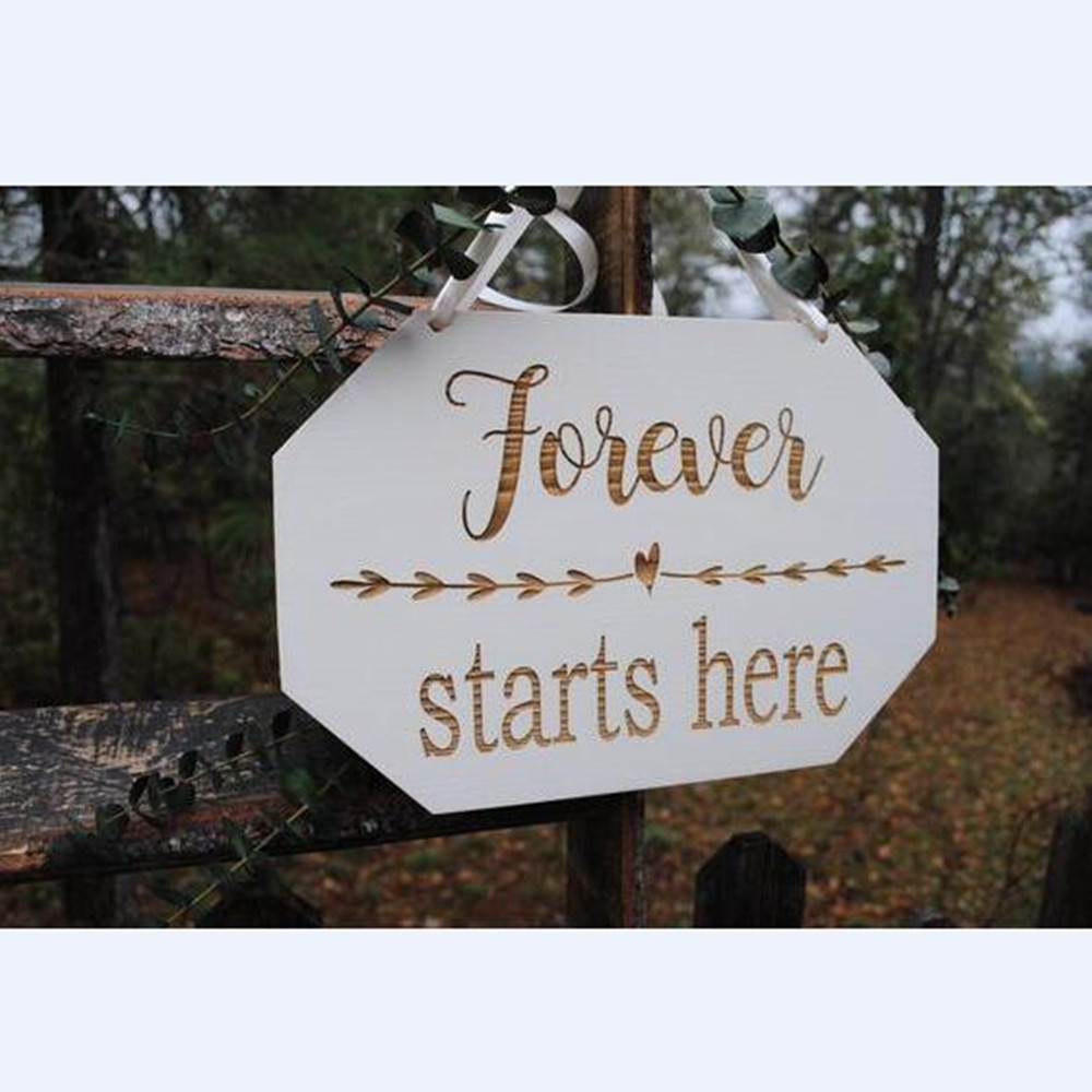 Wooden Wedding Signs.Us 14 44 15 Off Wooden Wedding Signs Wooden Rustic Wedding Wood Decoration Sign Forever Starts Here Wedding Party Wood Decorations In Party