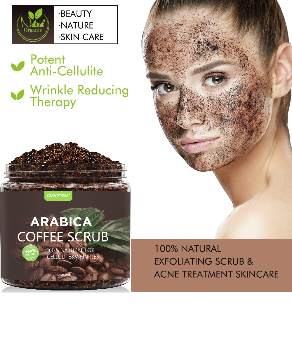Coffee Body Scrub +Massage Brush Set Cream Facial Dead Sea Salt Exfoliating Whitening Moisturizing Anti Cellulite Treatment Acne 3
