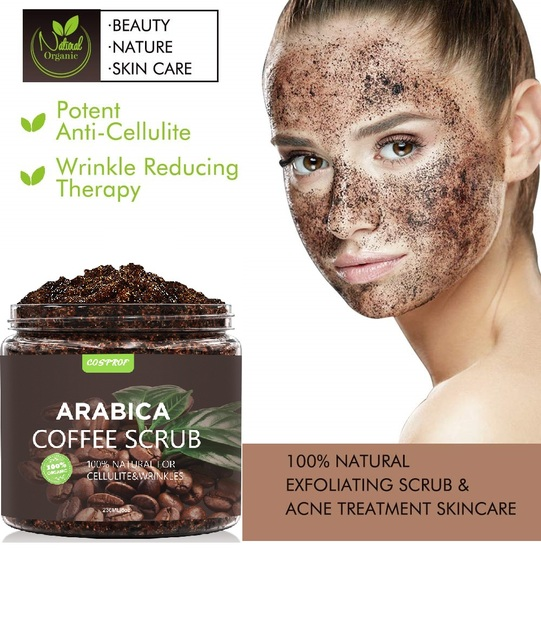 Coffee Body Scrub +Massage Brush Set Cream Facial Dead Sea Salt Exfoliating Whitening Moisturizing Anti Cellulite Treatment Acne 3