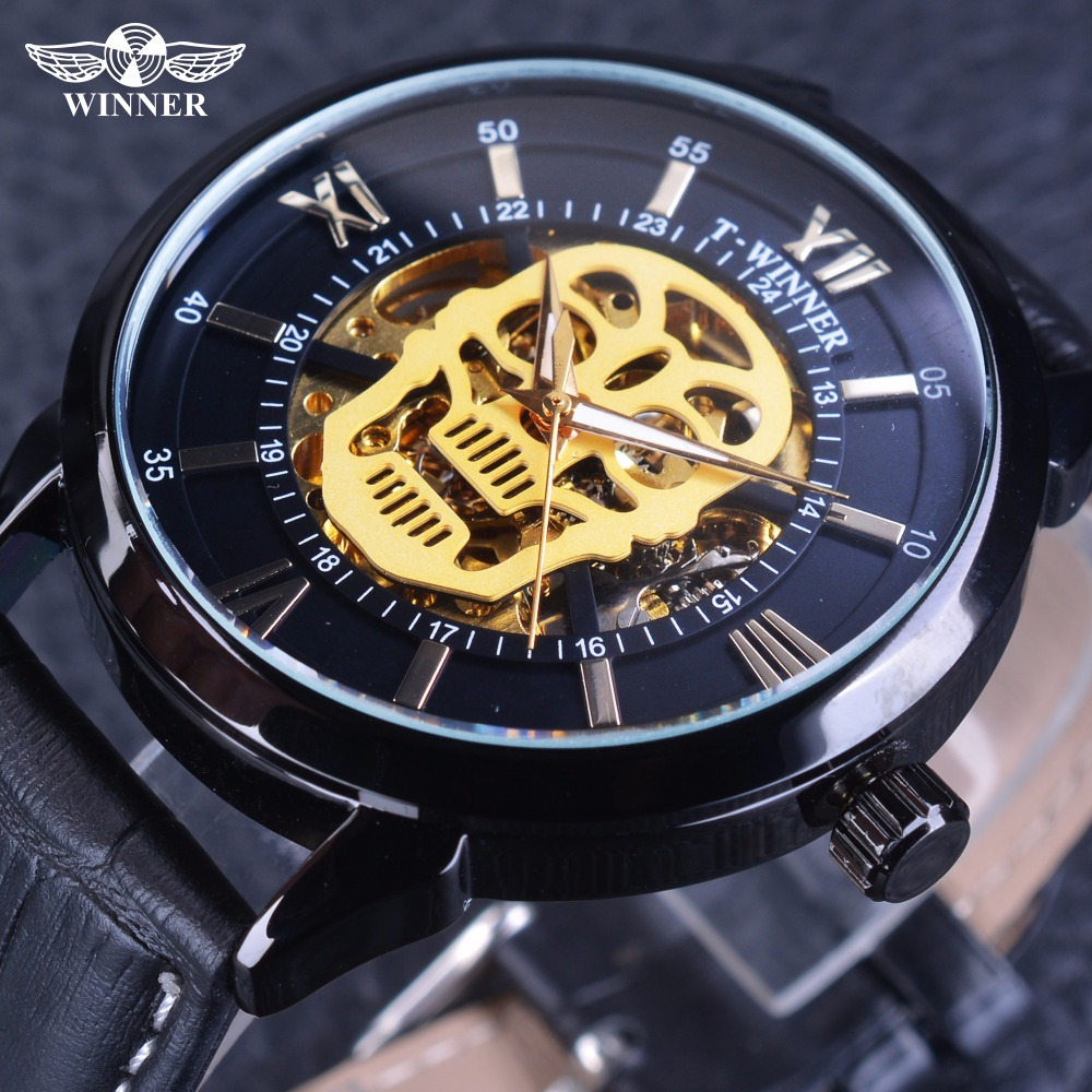 Winner Steampunk 2017 Skull Design Golden Skeleton Dial Genuine Leather Men Skeleton Wristwatch Top Brand Luxury Automatic Clock airsoft adults cs field game skeleton warrior skull paintball mask