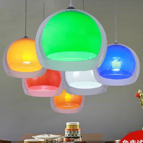 Double suspension de cordon acrylique à l'extérieur transparent à l'intérieur de la lampe suspendue colorée café bar restaurant lampes suspendues modernes - 5