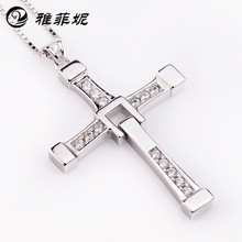 цены 925 sterling silver European jewelry fast and the furious men with Toledo cross pendant necklace sweater chain