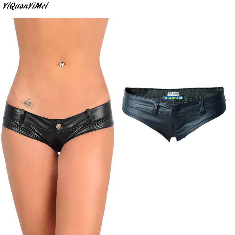 YiQuanYiMei 2018 New Fashion MINI   Shorts   Faux Leather Booty   Shorts   Micro Mini Jeans Cheeky Bikini Hot   Short   Pants Bottom   Short