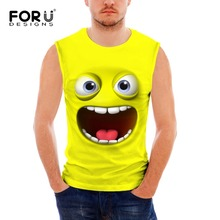 FORUDESIGNS Hot men's Tank Tops Crew Neck Sleeveless Shirt Elastic Stringer Funny 3D Smiley Emoji Print Undershirt Male Singlet red floral print crew neck sleeveless gym tops