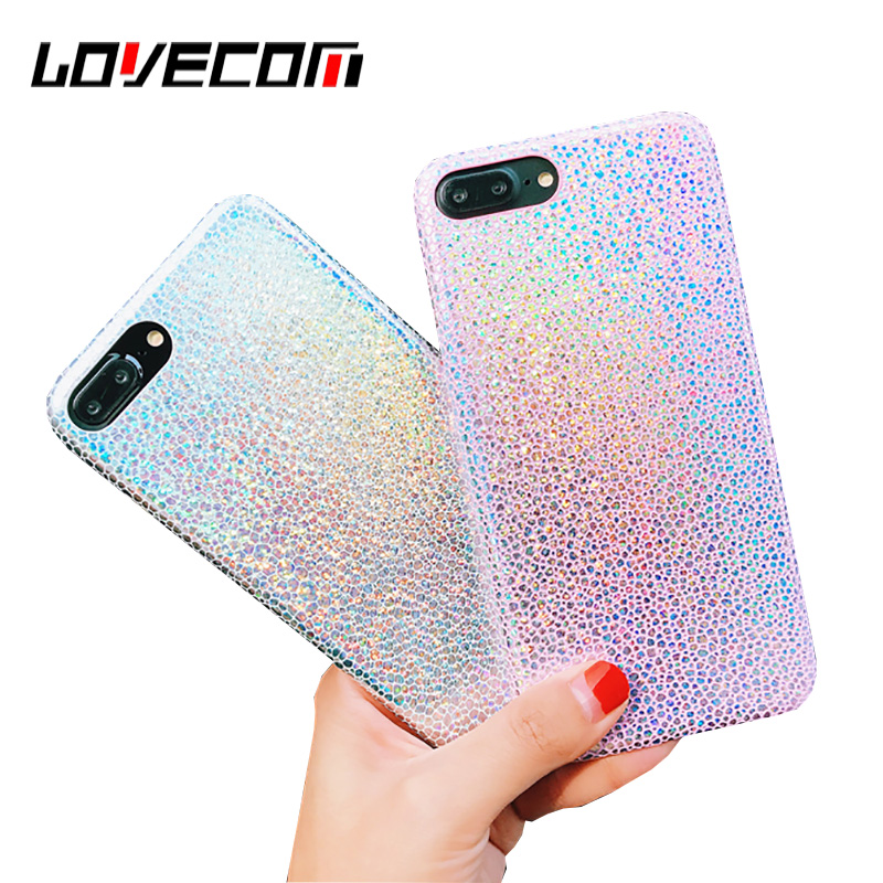 LOVECOM Luxury Snake Scales Grain Laser Phone Case For iPhone 6 6S 7 8 Plus X Soft PU Leather Back Cover Coque Fundas