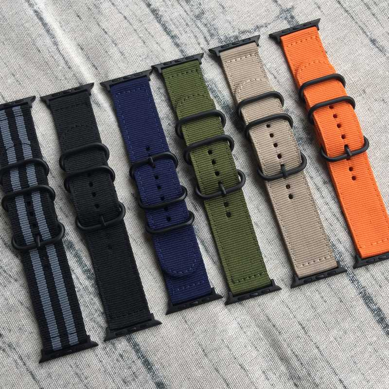 Smart Watchband 22mm 24mm NYLON Watch band For Apple Watch band 38mm 42mm Nato Strap with Black Zulu Rings, Buckle and Adapters wholesale suunto core nylon diver strap band kit w lugs adapters armygreen 5 colours 24mm zulu nato watchbands