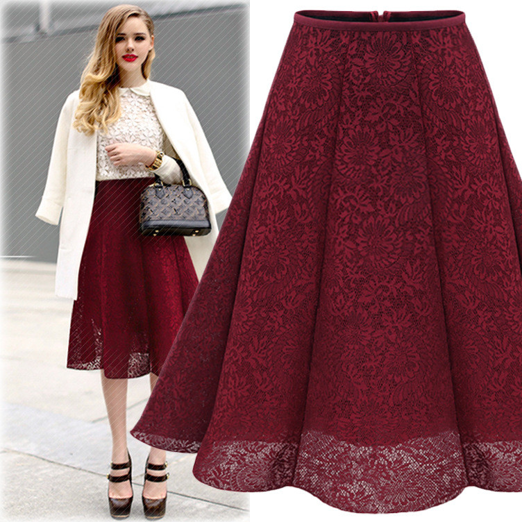 font b Women s b font Fashion A Line Solid Color Lace Knee Length Pleated