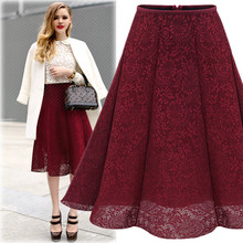 Women's Fashion A-Line Solid Color Lace Knee Length Pleated Skirt One Size