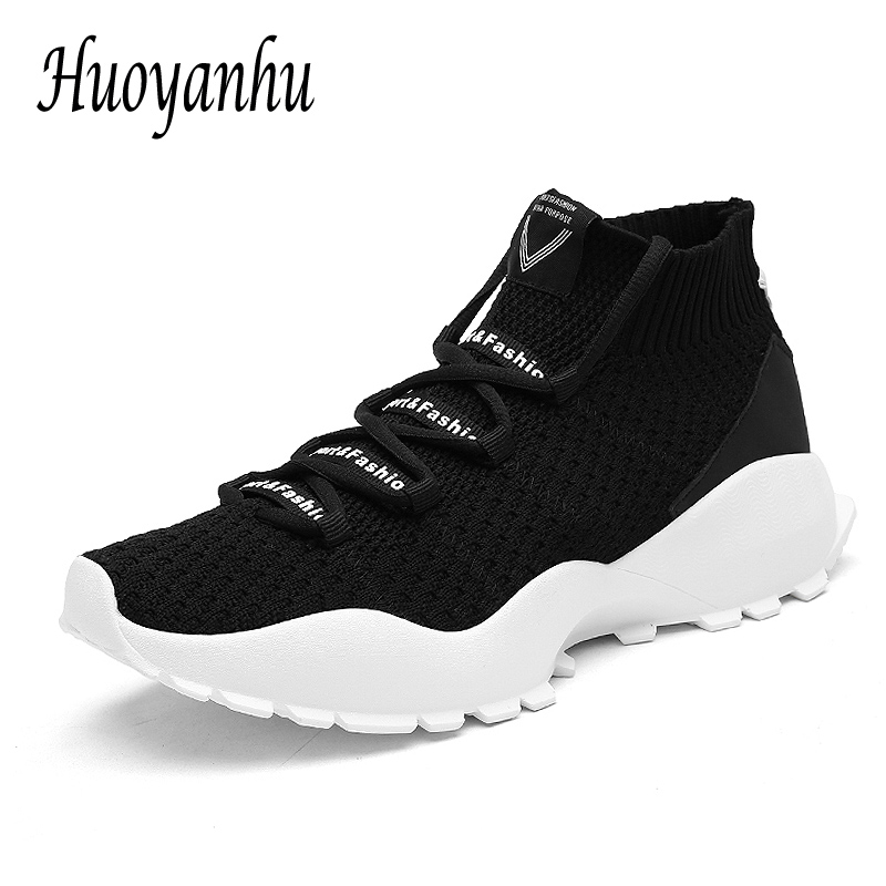 Autumn/Summer Sneakers Men Knit Upper Breathable Sport Shoes Chunky Shoes High Top Running Shoes For Men Soft bottom zapatillas