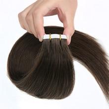 АЛИ КРАСОТА Клейкие ленты в волос машина Волосы Remy Цвет #4 человека прямо Клеящие средства Невидимый Клейкие ленты утка pu 16- 20 дюйм(ов)