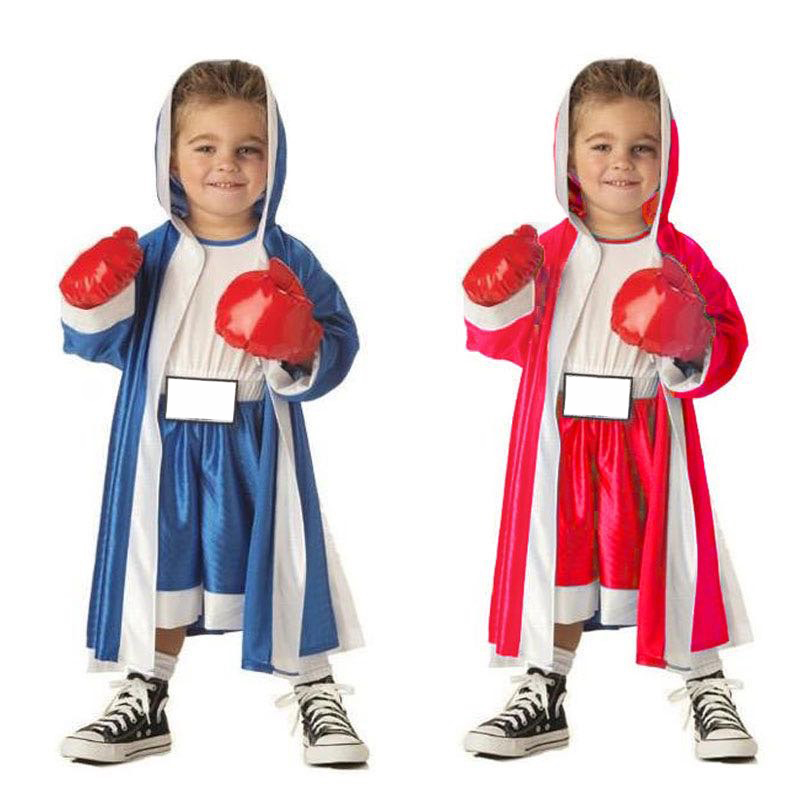 New Party dress Halloween cosplay costume Kid boy girl Children Red Blue boxer costume Clothing Jumpsuit Coat and red gloves