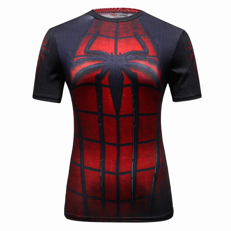 2017 High Quality Women T-shirt costume Captain America/superman/spiderman T Shirt Girl Fitness Tights