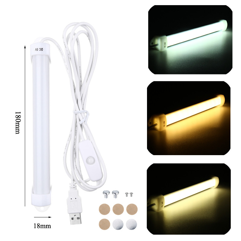 Smuxi 18cm Portable USB 5V 14 LED Bar Light Hard Strip 5630 SMD Light Tube Light Lamp With On/Off Switch 3W For Kitchen Cabinet