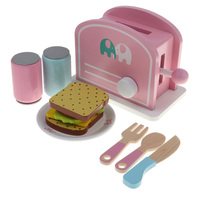 Bread and Tableware Toast Set Wooden Chef Pretend Play Food Toy